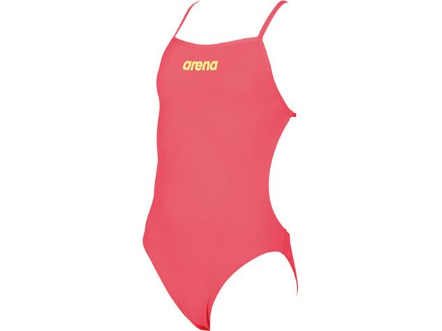 Arena Solid Youth Mädchen Badeanzug Lighttech Back - 140 fluo red/soft green