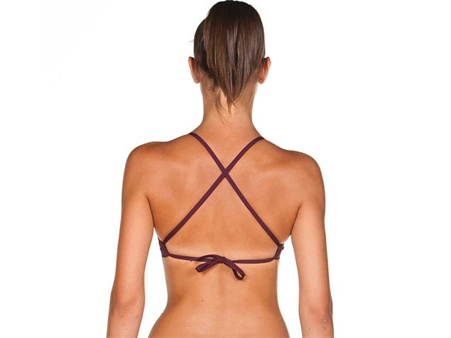 Arena Solid Tie Back Top Schwimmbikini Oberteil - 32 red wine/shiny pink