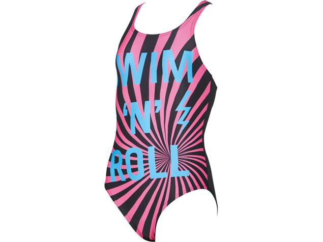 Arena Swim&Roll Mädchen Badeanzug New V Back - 164 black/turquoise