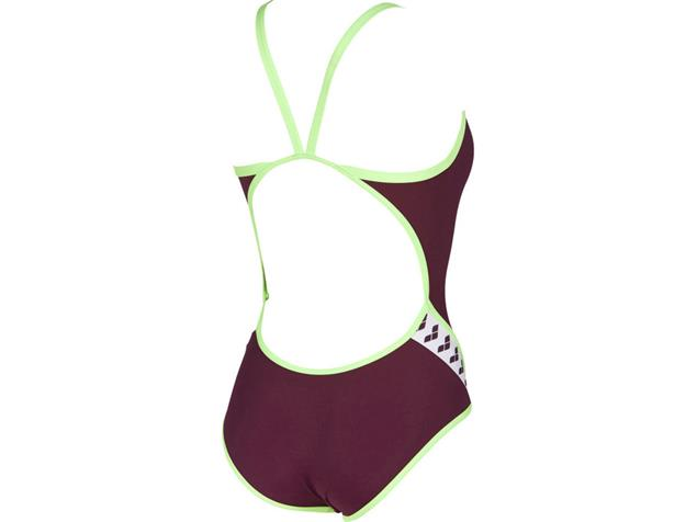Arena Team Stripe Badeanzug Super Fly Back - 32 red wine/shiny green